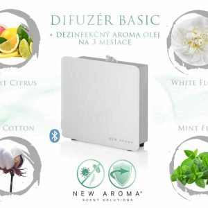 Difuzér Basic New White s dezinfekčným aroma olejom