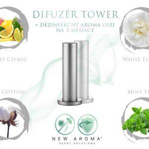 Dizajnový difuzér Tower Silver s dezinfekčným aroma olejom