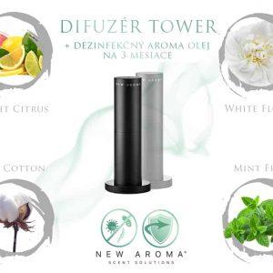 Dizajnový difuzér Tower Black s dezinfekčným aroma olejom