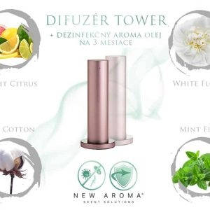 Dizajnový difuzér Tower Rose Gold s dezinfekčným aroma olejom